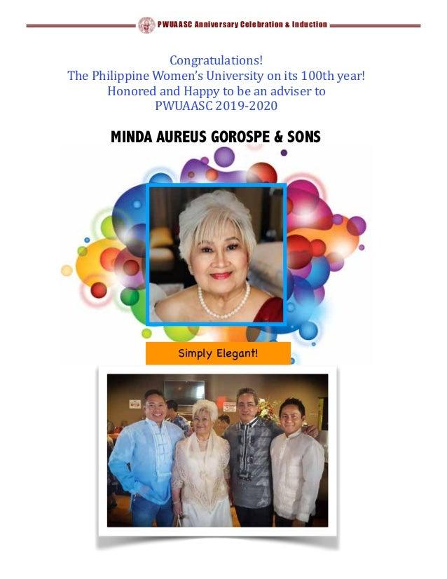 PWUAASC Anniversary Celebration & Induction Congratulations! ThePhilippineWomen'sUniversityonits100thyear! Honor...