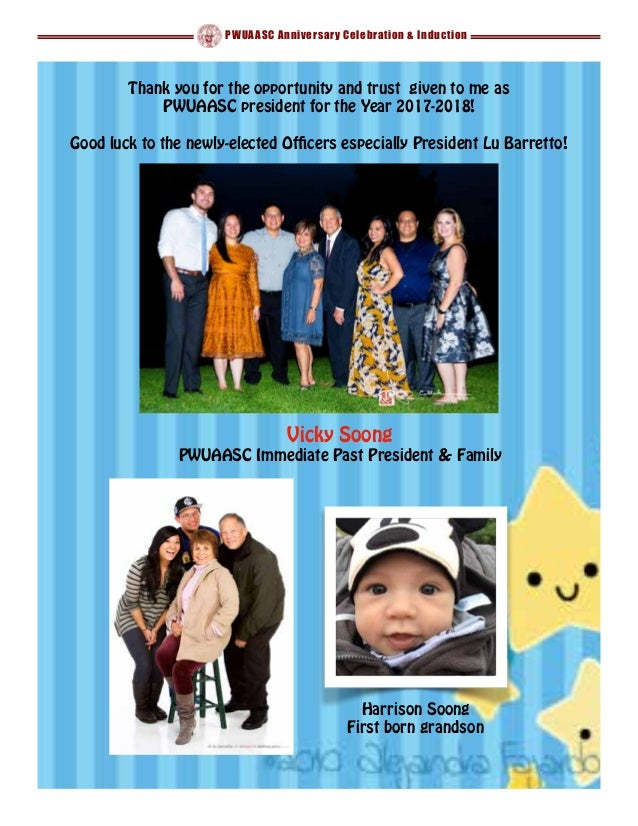 PWUAASC Anniversary Celebration & Induction Vicky Soong PWUAASC Immediate Past President & Family Harrison Soong First bor...