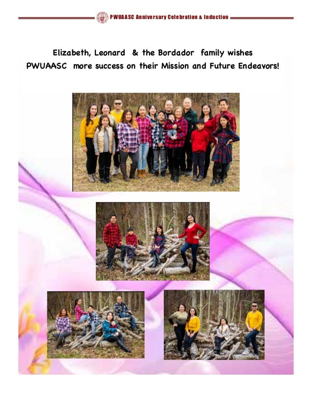 PWUAASC Anniversary Celebration & Induction Elizabeth, Leonard & the Bordador family wishes   PWUAASC more success on thei...
