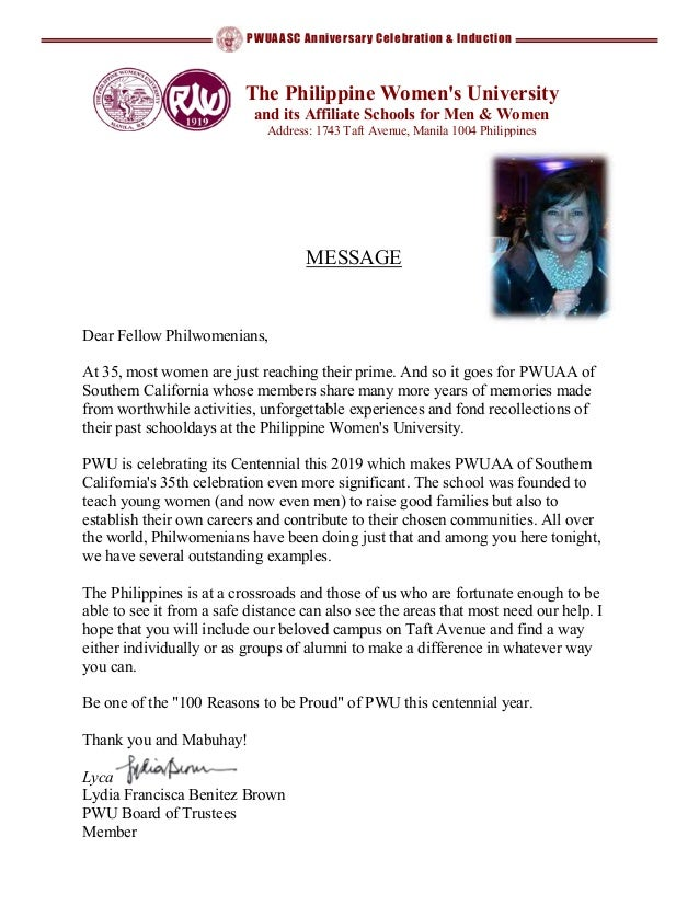 PWUAASC Anniversary Celebration & Induction Dear Fellow Philwomenians, At 35, most women are just reaching their prime. An...