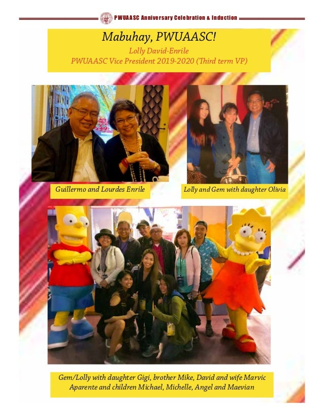 PWUAASC Anniversary Celebration & Induction Gem/Lolly with daughter Gigi, brother Mike, David and wife Marvic Aparente and...