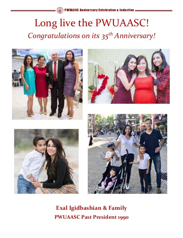 PWUAASC Anniversary Celebration & Induction Long live the PWUAASC! Congratulations on its 35th Anniversary! Exal Igidbashi...