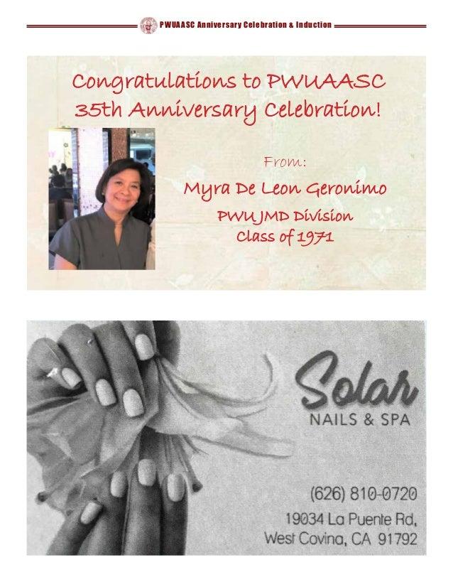 PWUAASC Anniversary Celebration & Induction Congratulations to PWUAASC 35th Anniversary Celebration! From: Myra De Leon Ge...