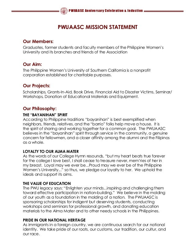 PWUAASC Anniversary Celebration & Induction PWUAASC MISSION STATEMENT Our Members: Graduates, former students and faculty ...