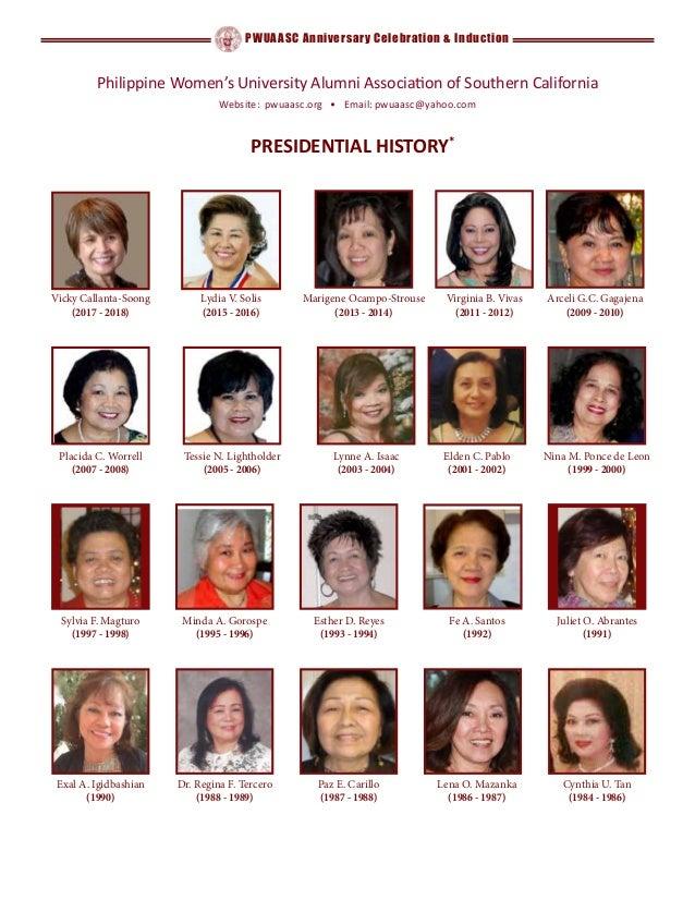 PWUAASC Anniversary Celebration & Induction Cynthia U. Tan (1984 - 1986) Exal A. Igidbashian (1990) Sylvia F. Magturo (199...