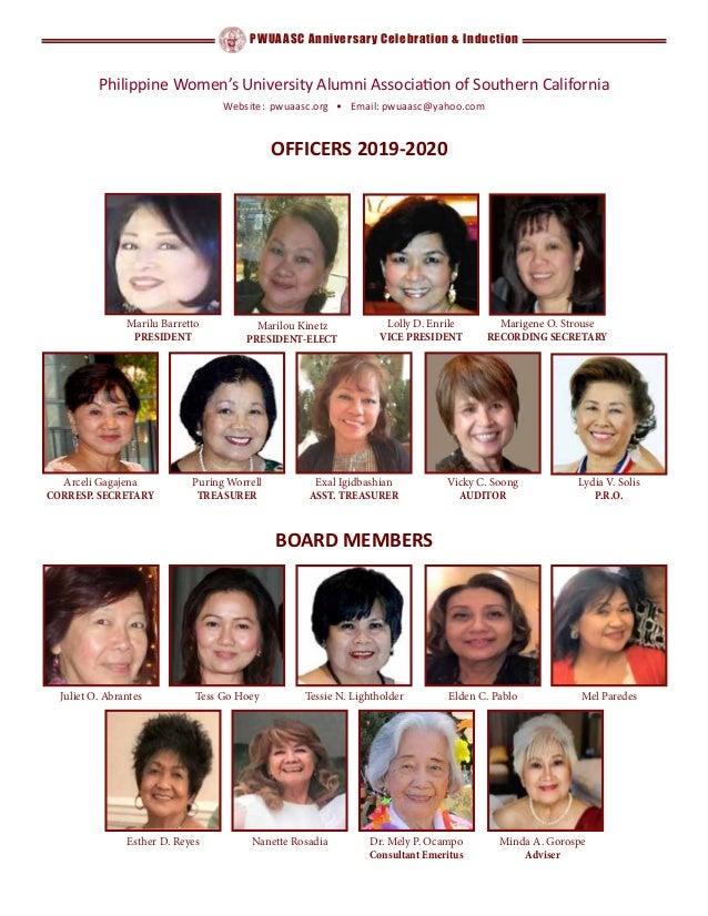 PWUAASC Anniversary Celebration & Induction OFFICERS 2019-2020 Arceli Gagajena CORRESP. SECRETARY Puring Worrell TREASURER...