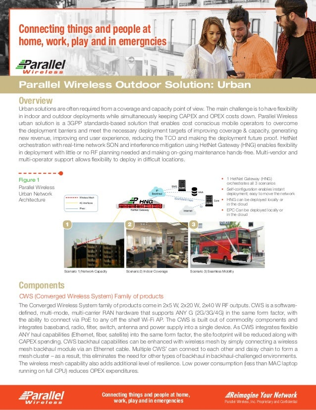 Parallel Wireless, Inc. Proprietary and Confidential Connecting things and people at home, work, play and in emergencies C...