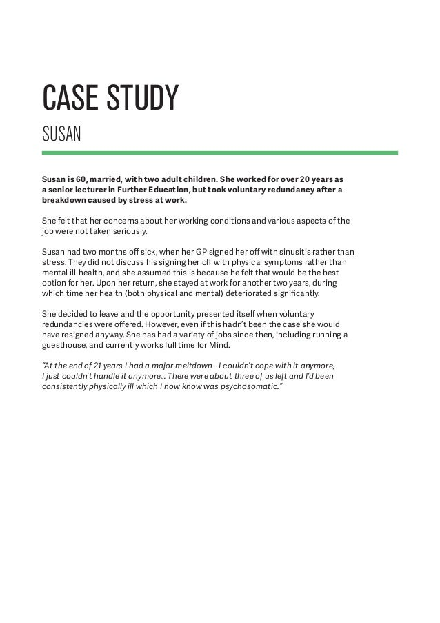 Examples of health and safety case studies pgbari for Mental health case study template
