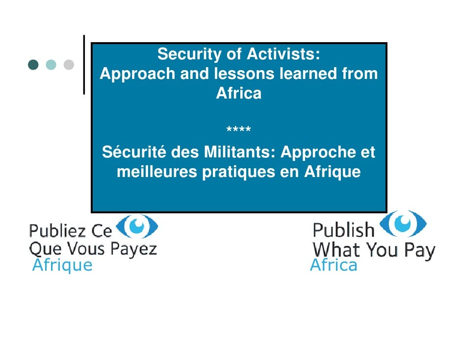 Security of Activists:           Approach and lessons learned from                        Africa                          ...