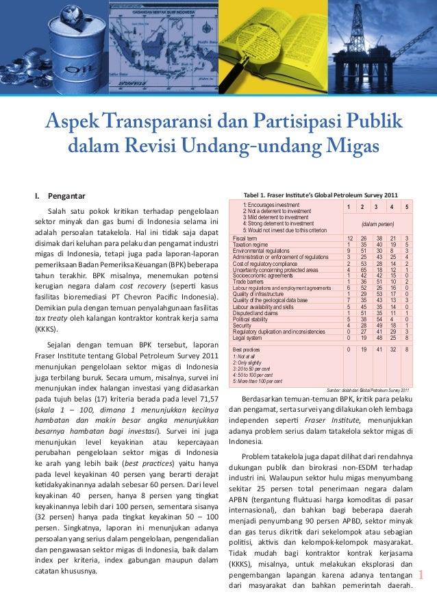 Aspek Transparansi dan Partisipasi Publik dalam Revisi Undang-undang Migas I. Pengantar Salah satu pokok kritikan terhada...
