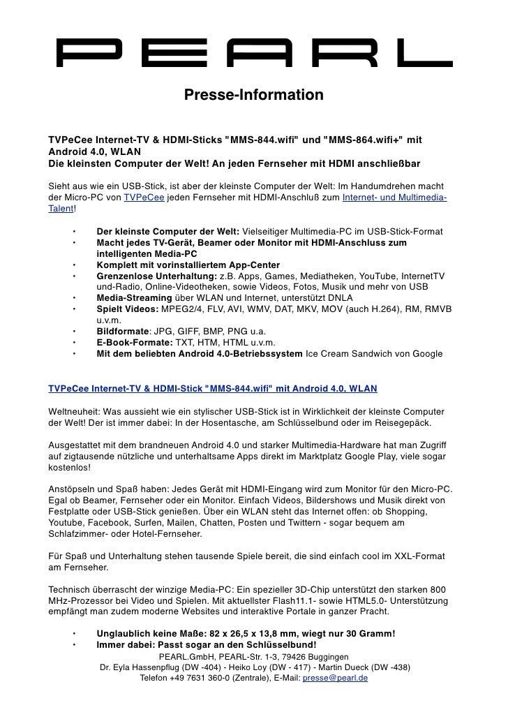 """Presse-InformationTVPeCee Internet-TV & HDMI-Sticks """"MMS-844.wifi"""" und """"MMS-864.wifi+"""" mitAndroid 4.0, WLANDie kleinsten Com..."""
