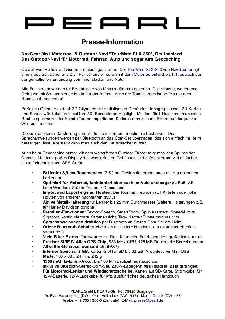 "Presse-InformationNavGear 3in1-Motorrad- & Outdoor-Navi ""TourMate SLX-350"", DeutschlandDas Outdoor-Navi für Motorrad, Fahr..."