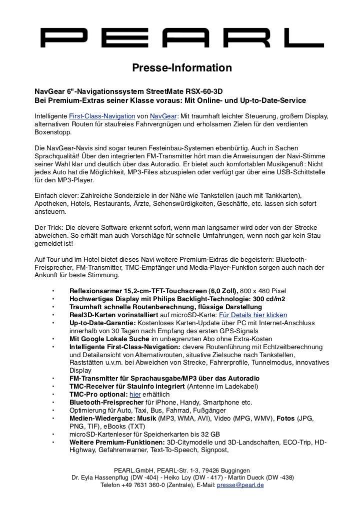 """Presse-InformationNavGear 6""""-Navigationssystem StreetMate RSX-60-3DBei Premium-Extras seiner Klasse voraus: Mit Online- un..."""