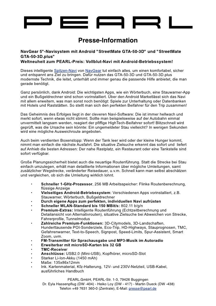 "Presse-InformationNavGear 5""-Navisystem mit Android ""StreetMate GTA-50-3D"" und ""StreetMateGTA-50-3D.plus""Weltneuheit zum P..."