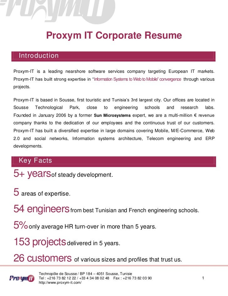 Proxym IT Corporate Resume  IntroductionProxym-IT is a leading nearshore software services company targeting European IT m...