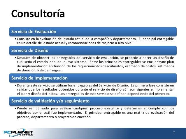 Consultoría Servicio de Evaluación •Consiste en la evaluación del estado actual de la compañía y departamento. El principa...