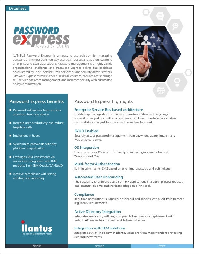 SIMPLE SECURE SWIFT Datasheet ILANTUS Password Express is an easy-to-use solution for managing passwords, the most common ...