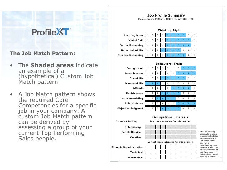 Profile XT-Sales Employee Assessment