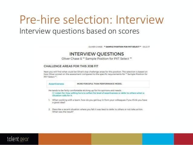 PXT Select™ Pre-hire Assessment