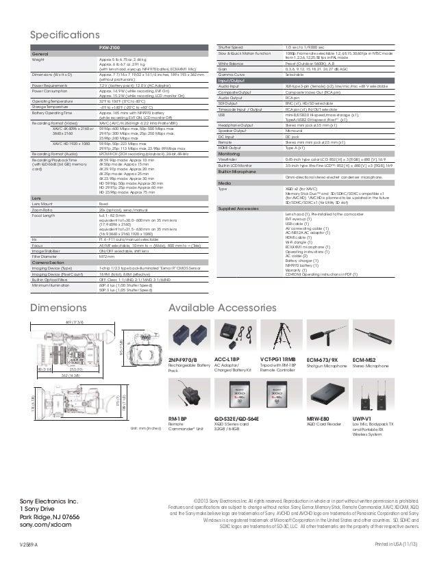 Sony PXW-Z100 Camcorder