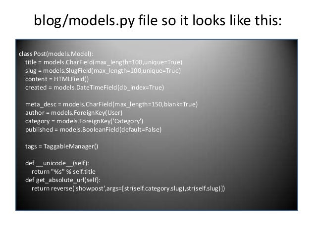"""blog/views.py file so it looks like this: def main(request): """"""""""""Main listing."""""""""""" posts = Post.objects.all().order_by(""""-cre..."""
