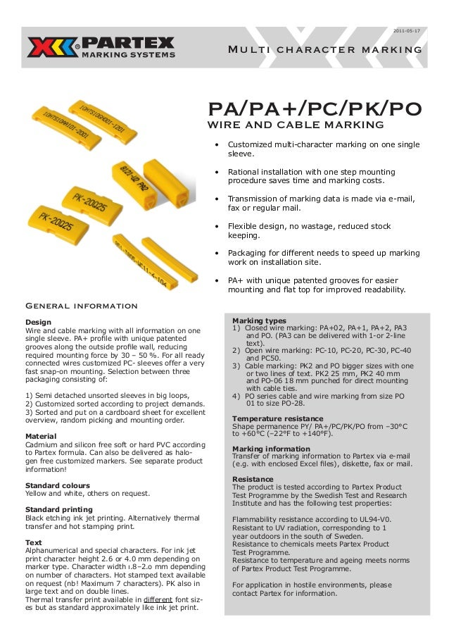 pa/pa+/pc/pk/po WIRE AND CABLE MARKING