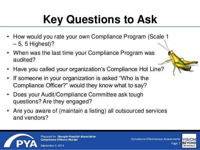 Compliance effectiveness assessments - Associate compliance officer ...