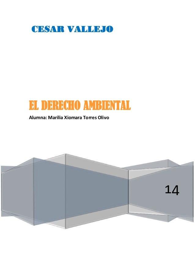 CESAR VALLEJO 14 EL DERECHO AMBIENTAL Alumna: Marilia Xiomara Torres Olivo