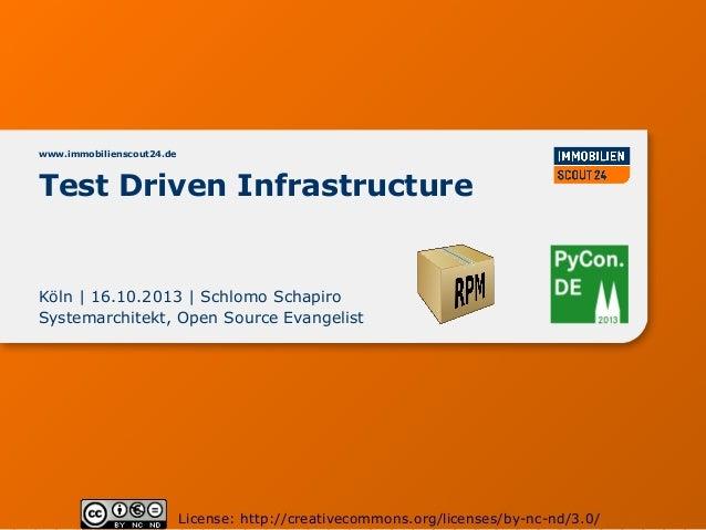 www.immobilienscout24.de  Test Driven Infrastructure  Köln | 16.10.2013 | Schlomo Schapiro Systemarchitekt, Open Source Ev...