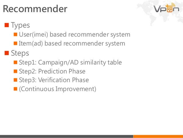 • Serve ads according to users preference Recommender flow Prediction Machine Learning (e.g. recommender) Evaluation Data ...