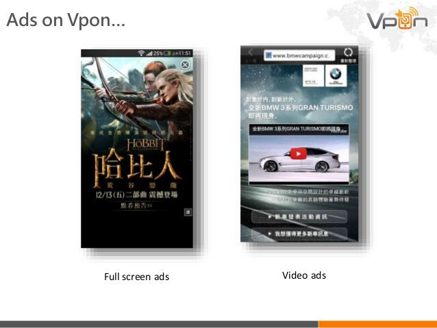 Full screen ads Video ads Ads on Vpon…