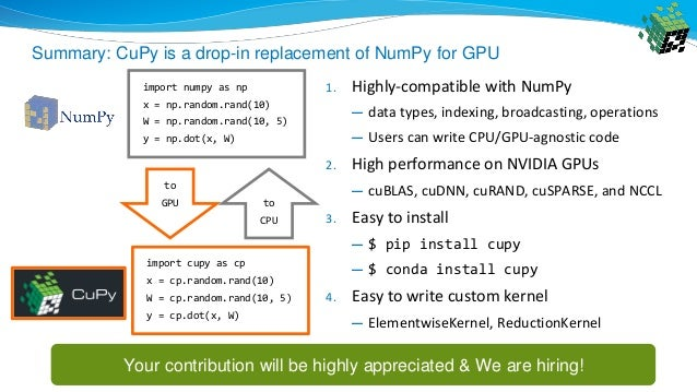 CuPy: A NumPy-compatible Library for GPU