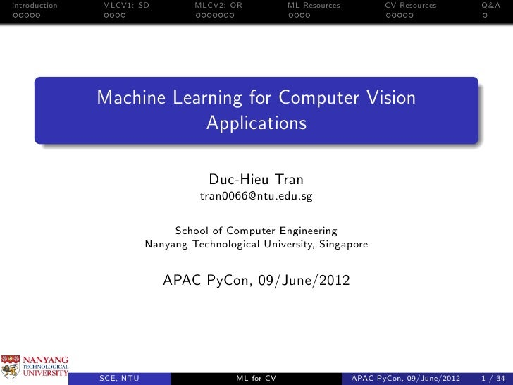 Introduction   MLCV1: SD           MLCV2: OR           ML Resources          CV Resources        Q&A               Machine...