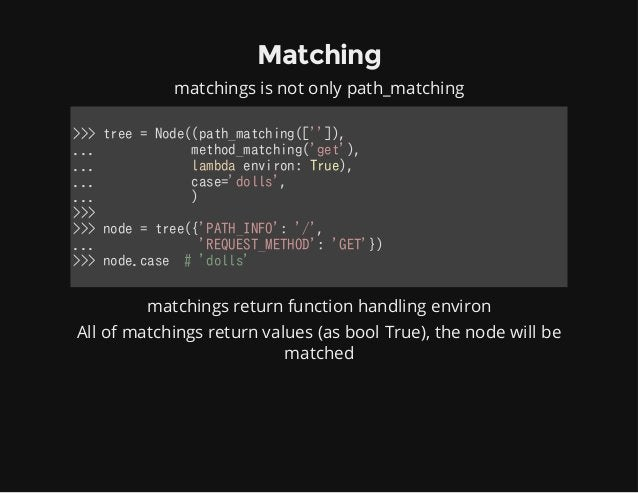 Matching matchings is not only path_matching >>>tree=Node((path_matching(['']), ...method_matching('get'),...