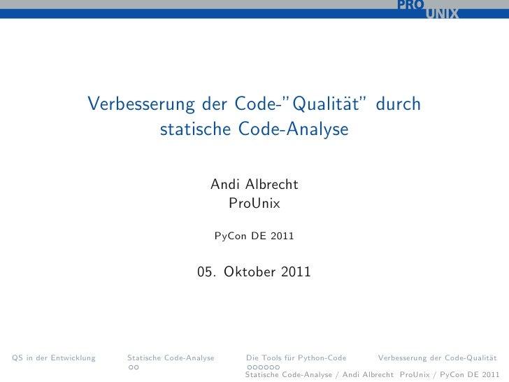 """Verbesserung der Code-""""Qualit¨t"""" durch                                               a                          statische ..."""