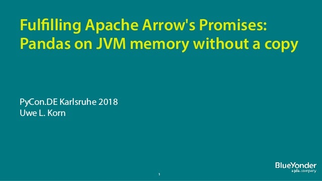 1 Fulfilling Apache Arrow's Promises: Pandas on JVM memory without a copy PyCon.DE Karlsruhe 2018 Uwe L. Korn
