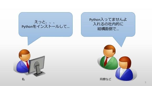5 えっと、、、 Pythonをインストールして… Python入ってませんよ 入れるの社内的に 結構面倒で… 私 同僚など