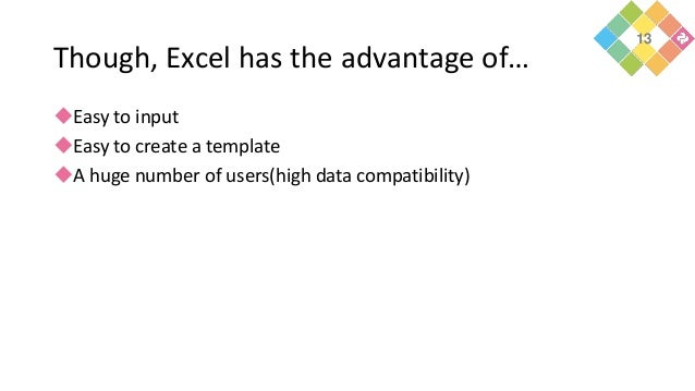 Though, Excel has the advantage of… Easy to input Easy to create a template A huge number of users(high data compatibil...