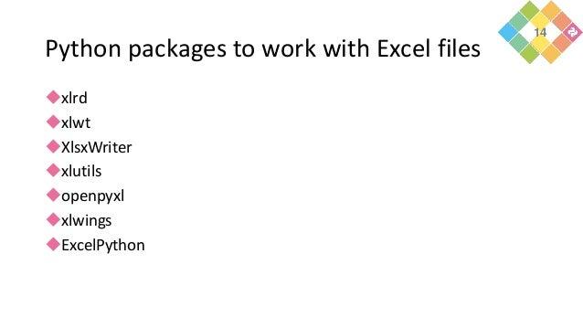 Python packages to work with Excel files xlrd xlwt XlsxWriter xlutils openpyxl xlwings ExcelPython 14