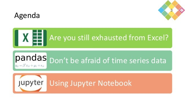 Agenda Are you still exhausted from Excel? Don't be afraid of time series data Using Jupyter Notebook 3