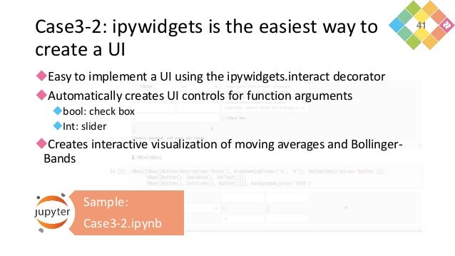 Case3-2: ipywidgets is the easiest way to create a UI Easy to implement a UI using the ipywidgets.interact decorator Aut...