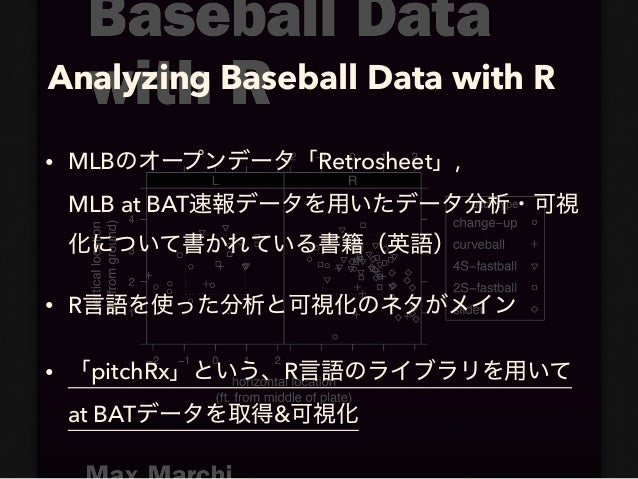 Analyzing Baseball Data with R • MLB Retrosheet , MLB at BAT • R • pitchRx R  at BAT &