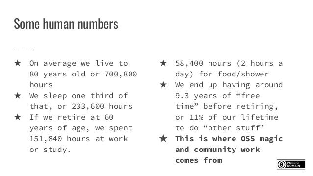 Some human numbers ★ On average we live to 80 years old or 700,800 hours ★ We sleep one third of that, or 233,600 hours ★ ...