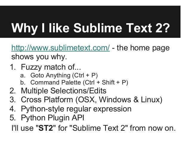 PyConTW 2013] Write Sublime Text 2 Packages with Python