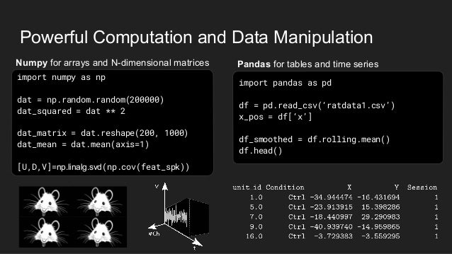 Powerful Computation and Data Manipulation Pandas for tables and time seriesNumpy for arrays and N-dimensional matrices im...