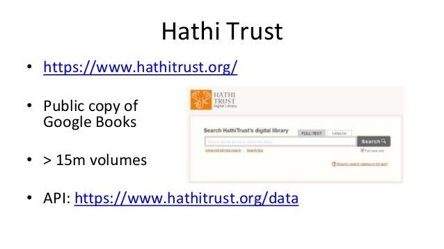 DDB • http://ddb.de/ • Germany's federal Digital Library • > 9m objects • API: https://api.deutsche-digitale-bibliothek.de/