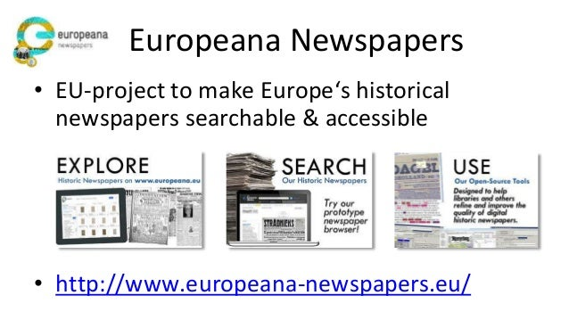 Europeana Newspapers Collection • 12 million historic newspaper pages text (> 10.000.000.000 tokens) • 40 languages, 4 alp...
