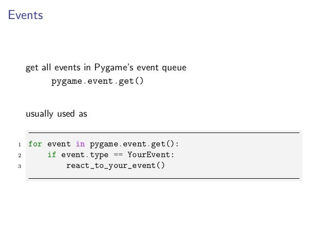 Pygame presentation