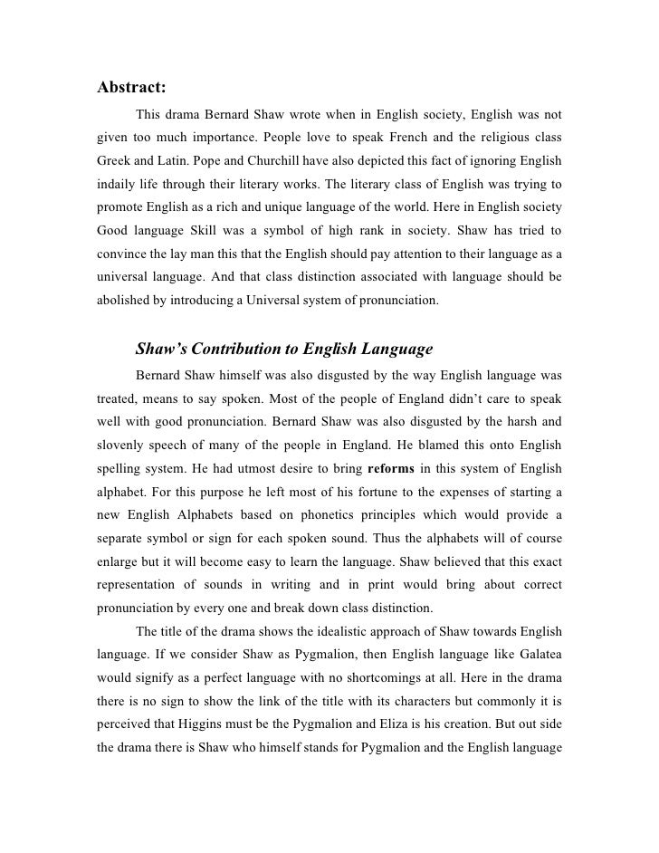 pygmalion summary analysis and original text