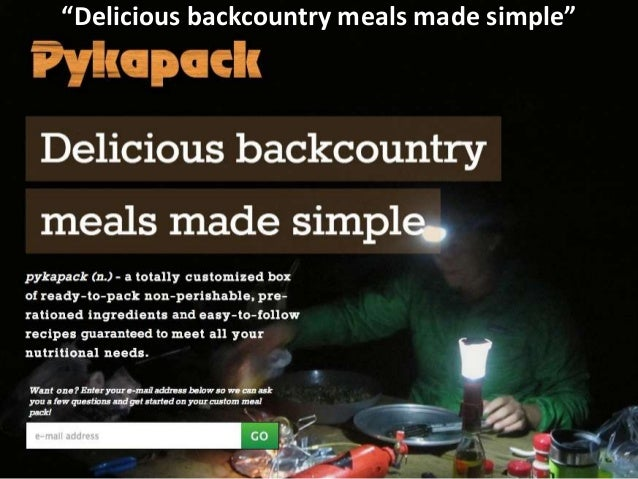 """""""Delicious backcountry meals made simple"""""""